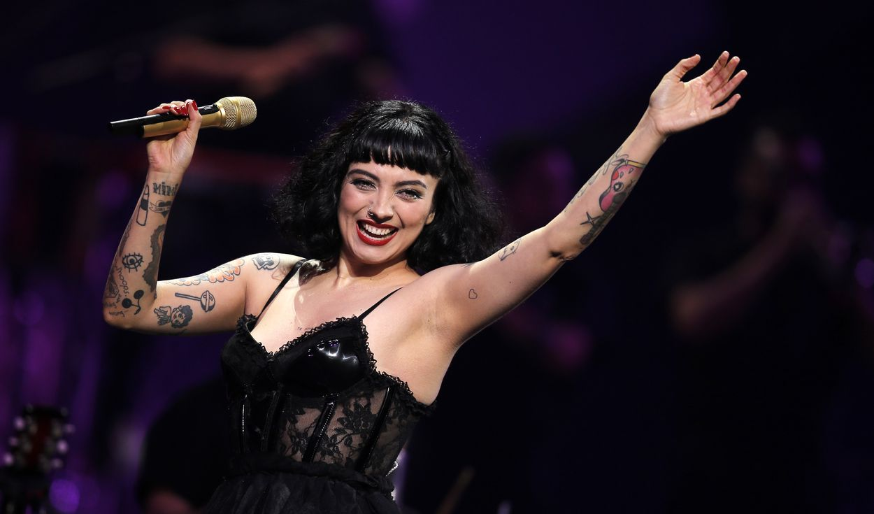 Chilean singer Mon Laferte performs during the 61th Vina del Mar International Song Festival in Vina del Mar, Chile, on February 24, 2020. (Photo by JAVIER TORRES / AFP)