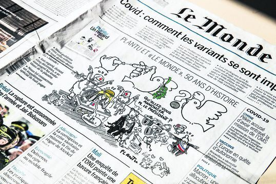 Paris (France), 31/03/2021.- The last drawing by French cartoonist Plantu on the front cover of 'Le Monde' newspaper, in the 01 April 2021 edition, a comment to upcoming televised address of French president Emmanuel Macron this night, as the country awaits a government decision on new measures to stop the spread of the Covid-19 pandemic, in Paris, France, 31 March 2021. Plantu leaves Le Monde newspaper on 31 March 2021, after 50 years of work. (Francia) EFE/EPA/MOHAMMED BADRA