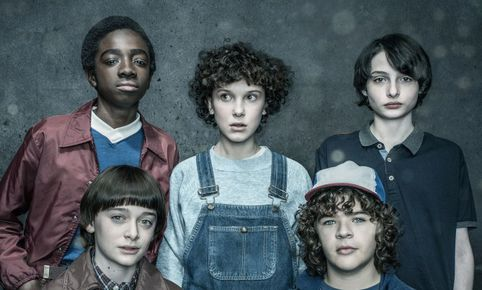 The Cast of Stranger Things, clockwise from bottom left, Noah Schnapp, Caleb McLaughlin, Millie Bobby Brown, Finn Wolfhard, Gaten Matarazzophotographed by Dan Winters for Entertainment Weekly on January 28th, 2017 in Los Angeles California.Styling: Jill Roth; Brown Hair: Blake Erik/Jed Root, Makeup: Gianpaolo Ceciliato/Jed Root, Groomer: Erika Parsons/Art Department; Groomer: Adrienne Herbert/Art Department; McLaughlin Grooming: Vonda K. Morris, Prop Styling: Charlotte Malmlof