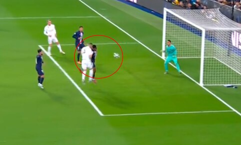 Real Madrid vs. PSG: gol de cabeza de Benzema para el 2-0. Foto: Captura de video.