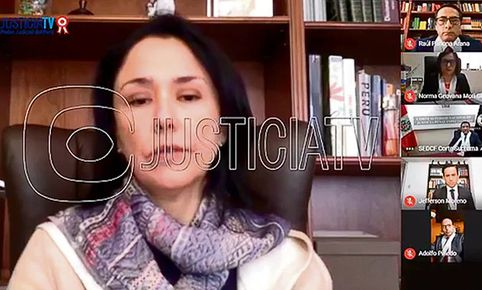 Nadine Heredia en audiencia virtual transmitida por Justicia TV en redes.