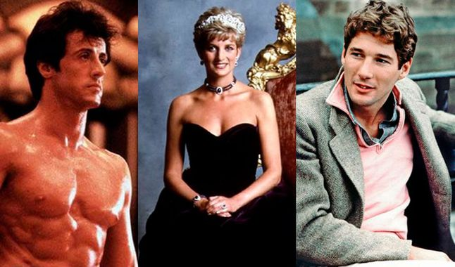 Sylvester Stallone, Lady Di y Richard Gere