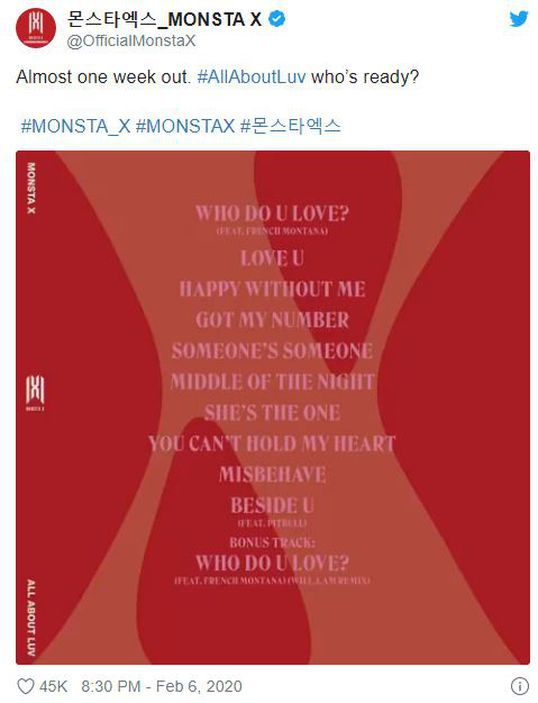 "MONSTA X: setlist del nuevo álbum ""ALL ABOUT LUV""."
