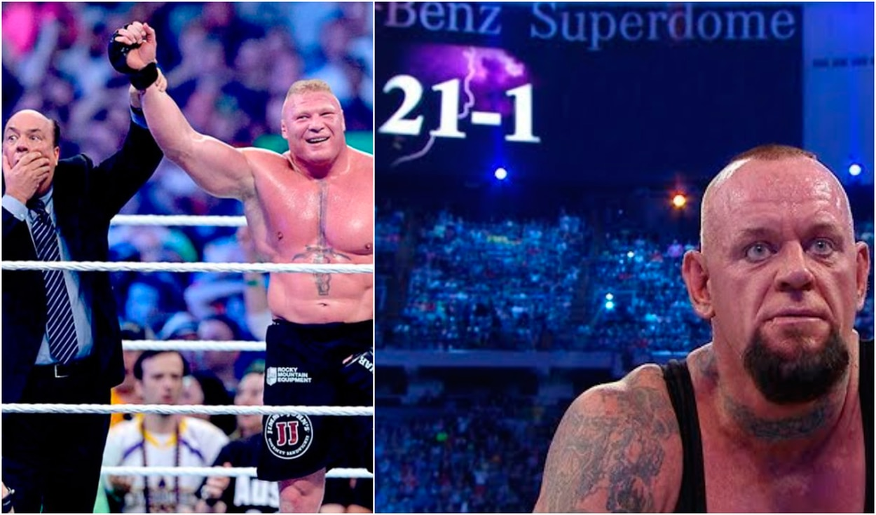 Brock Lesnar quebró la racha invicta de The Undertaker en WrestleMania 30. | Foto: WWE